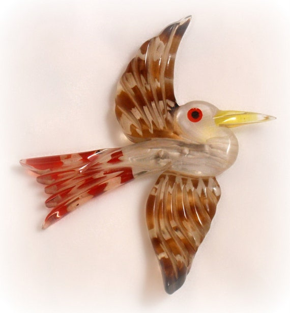Vintage Reverse Carved Lucite Bird Brooch Pin Red Brown Yellow Retro Circa 1940s