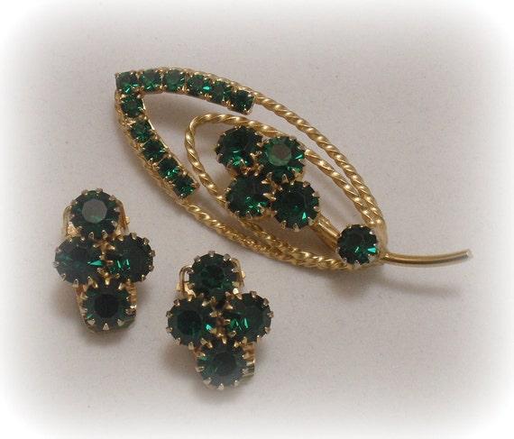 Green Rhinestone Leaf Pin Earrings Set 1950s Retro Modern