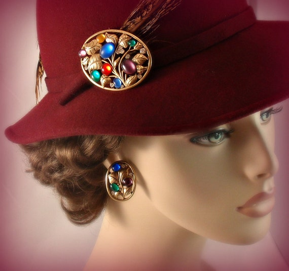 Vintage Art Nouveau Revival Pin Earrings Set