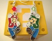 Mario and Luigi Nintendo Swarovski Geektastic Earrings. Retro Video Game Accessory Geek Jewelry, Costume Cosplay