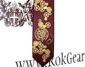 Necktie. men's silkscreen necktie, Pocket watch and gears Clock Works