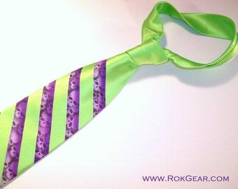 RokGear Men Necktie - Hot Lime Green and Purple Stripe Skull tie