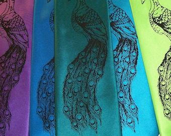 RokGear Peacock print - 6 Men's neckties - Custom colors print to order