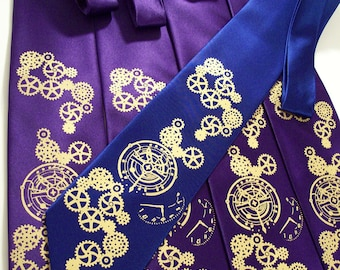 5 Men's neckties - Clock Works design, Wedding set print to order Custom colors