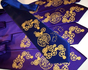 Men Necktie, set of 3 neckties - Clock Gears pocket watch steampunk design over 50 necktie colors to select from