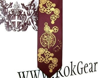 Necktie mens tie steampunk clock works design print to order custom colors available