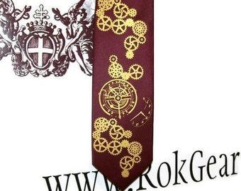 Mens Necktie, Steampunk tie, Clock Works design by RokGear