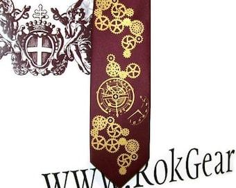RokGear steampunk clock works design - Men's Custom Colors Neckties - print to order