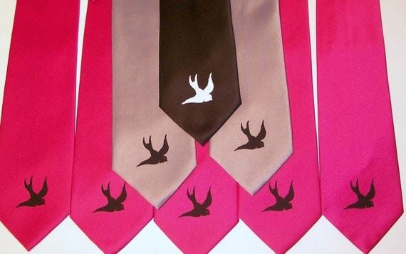 RokGear Necktie Men's fuchsia necktie black sparrow swallow bird print