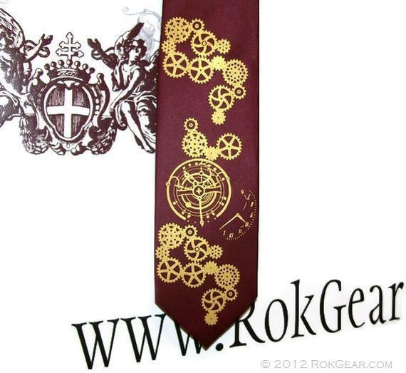 Men's necktie steampunk clock works design - Custom Colors print to order