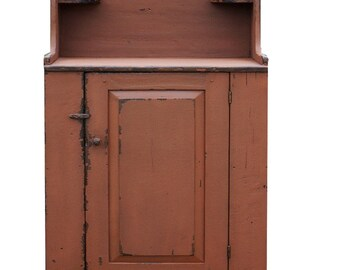 Primitive dry sink farmhouse painted country vanity wash stand cabinet cupboard rustic  Early American reproduction furniture