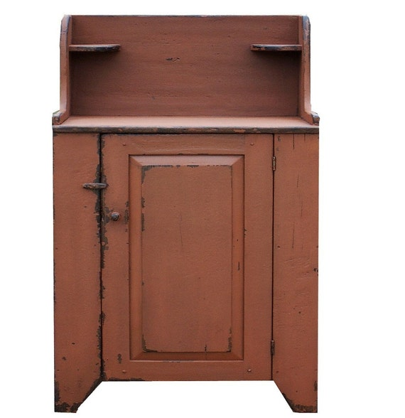 Primitive dry sink farmhouse painted country cabinet cupboard vanity Early American reproduction furniture wash stand