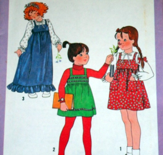 Vintage 1970's Simplicity 8712 Sewing Pattern, Child's Pullover Jumper In Two Lengths And Blouse, Size 4, Factory Folded