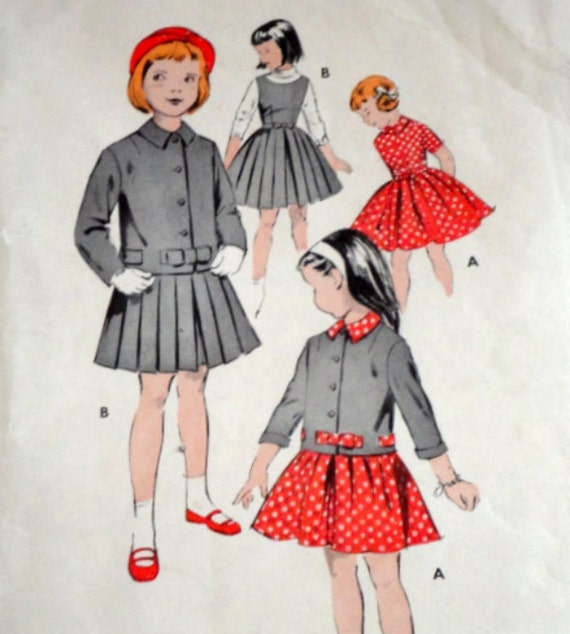 Vintage 1950s Butterick 8687 Sewing Pattern, Girls' Dress, Jacket And Jumper, Size 4