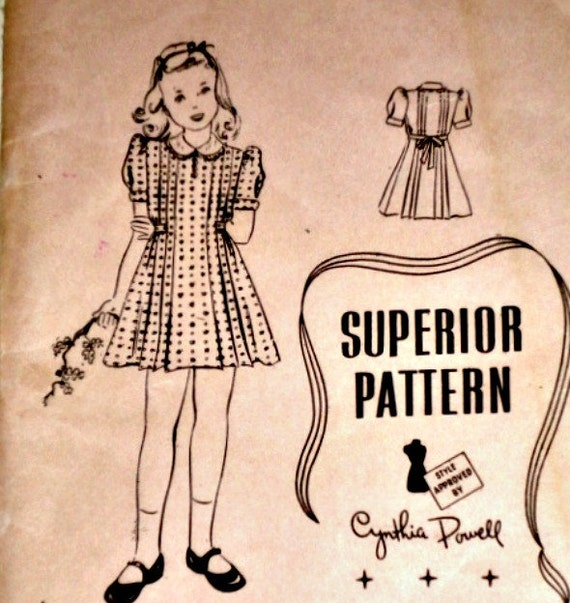 Vintage 1940s Superior 9796 Sewing Pattern, Girl's Dress, Size 10, Factory Folded