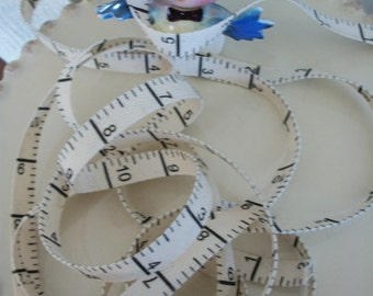 TWILL MEASURING TAPE-Natural Cotton Ribbon  3/8 inches wide-3 yards
