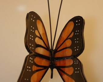 Monarch Butterfly Suncatcher Hand-Painted Stained Glass - Made to Order (MON001)