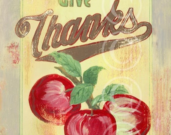 Give Thanks - retro sign art print
