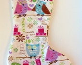 Owl Christmas Stocking with Pink Lining