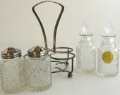 Silver Carrier with Glass Salt and Pepper Shakers and Oil and Vinegar Caraffes