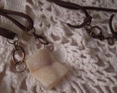Earthy Sparkle Cream Druzy on leather necklace