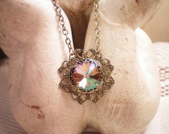 SPELLBOUND - Swarovski Antiqued Brass Necklace
