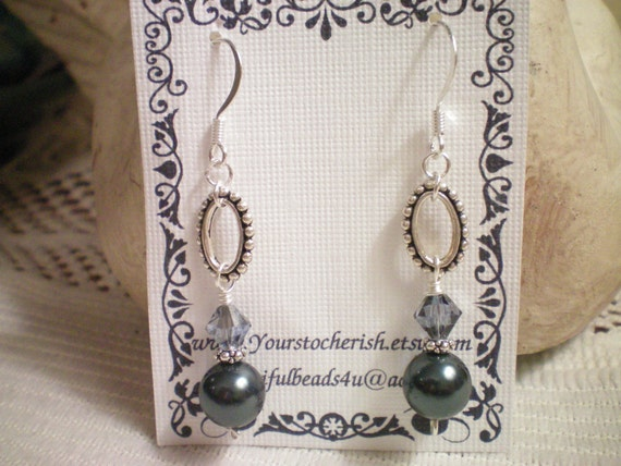 ANTIQUED SILVER - Swarovski Crystal and Pearl Drop Earrings
