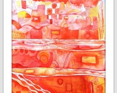 Home Decor, Red and Yellow Watercolor, Art, Colorful , abstract, for her, for him, Original Watercolor - We Built This City