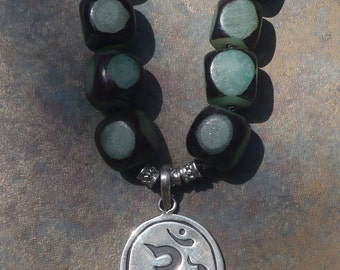 OM black/teal and silver beads knotted necklace with siver OM pendant Boho Hippie Chic Peace Love Karma Zen
