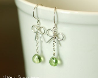 Peridot Jewelry, Tiny Silver Bow Earrings, Green, Peridot Gemstone, Sterling Silver, August birthday, August birthstone, Leo, Dangle, Drop