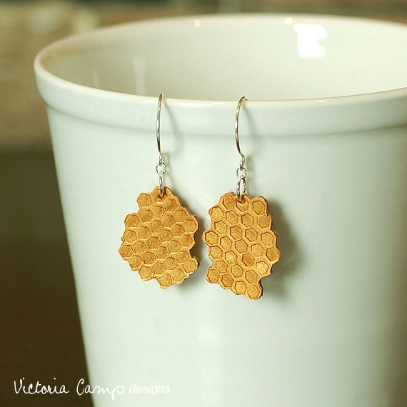 Honeycomb Earrings on Sterling Silver Hooks, Hand formed Clay, Hexagon, Patterned, Geometric, Beekeeper