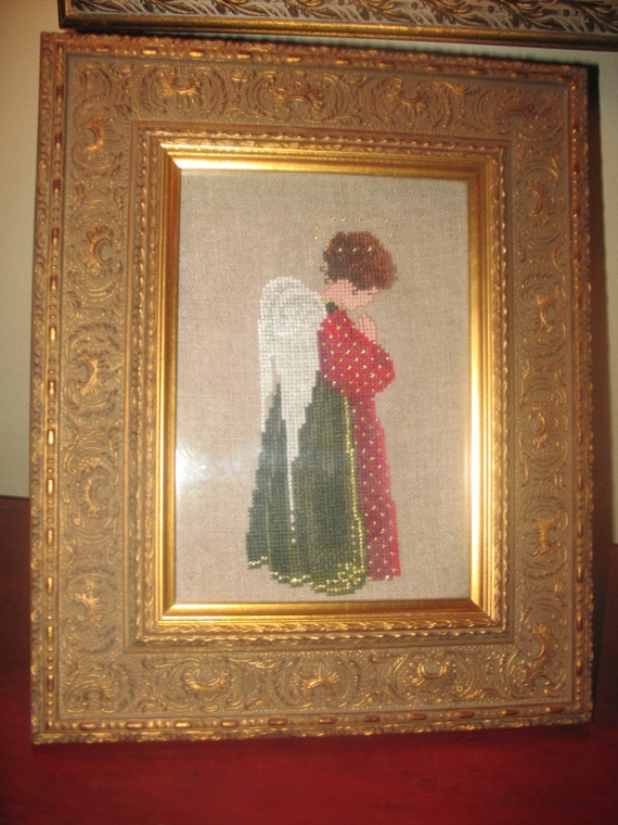 Counted Cross stitch of a Praying Christmas Angel Christian Religious Holiday on linen picture