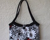Womens Tote Bag, Medium Handbag, Button Closure, Handmade From Zesty Zinnia Red