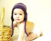 baby earflap hat, knit boutique photo prop, size 9 to 18 months toddler - plum purple, ready to ship
