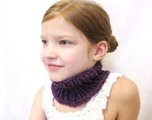 knit neckwarmer, earwarmer, or hairwrap - super stretchy, one size fits all, baby through adult - deep plum purple, ready to ship