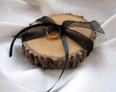 RUSTIC RING BEARER Pillow Wood Tree Slice Woodland Wedding Love Quotes Personalized Ring Holder Nature Wedding Country Wedding Shabby Chic
