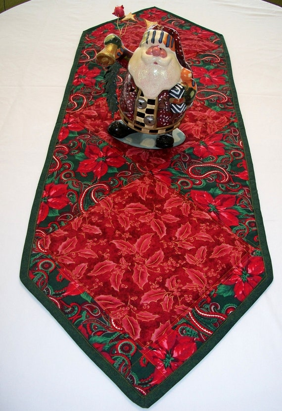 Christmas Poinsettia Quilted Tablerunner
