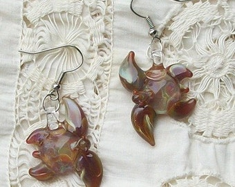 Hand Blown Glass Caramel Sea Turtle Earrings, Posts, Clip On, or Hooks