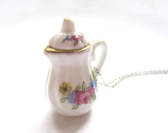 Spring Time Teapot Necklace, Miniature Food Jewelry, Polymer Clay Food Jewelry