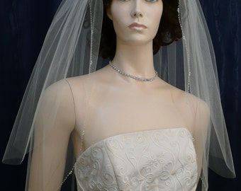 Crystal and Pearl Beaded Edge Bridal Veil  Elbow length with a Crystal beaded comb