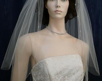 Crystal and Pearl Beaded Edge Bridal Veil  Elbow length with a Crystal beaded comb