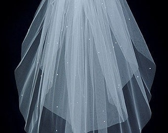 Wedding Bridal Veil   2 Tier Elbow length Swarovski Rhinestones Plain Cut Edge