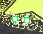 Made To Order Green 1up Mario shroom earrings Made To Order