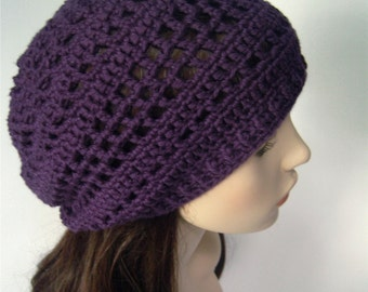 Slouchy Hat Cotton Slouchy Beanie Cotton Beanie Open Weave Hat Cotton Hat Eggplant Purple Boho Slouch Hat Dark Purple - MADE TO ORDER