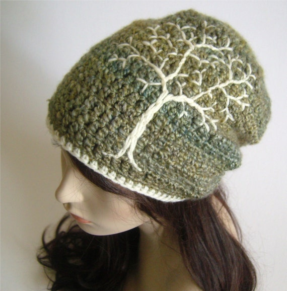 Slouchy Hat with Tree of Life Tree Hat Slouchy Beanie Dread Hat Slouch Hat Green, Blue, Yellow, and Cream - MADE TO ORDER