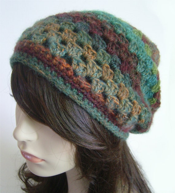 Slouchy Beanie Wool Hat Slouchy Hat Womens Hat Dread Hat Tam Purple Teal Green Orange Womens Winter Hat Fall Autumn Hat MADE TO ORDER