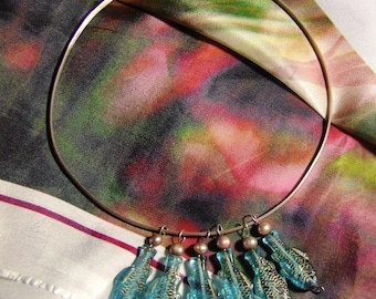 Hand Forged Sterling Silver Collar Necklace with multiple hand wrapped FW Pearls & Czech Glass Fish Pendants