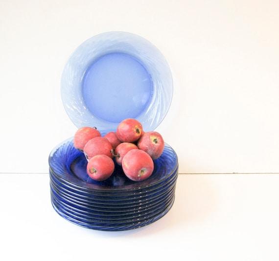 12  Vintage Blue Glass Plates  - Appetizer Dessert - Casual Wedding
