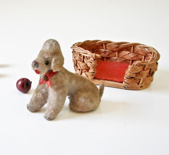 West German Poodle Dog In Basket - Vintage Kitsch
