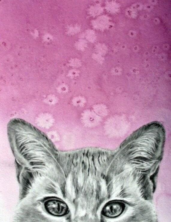 Tabby Cat original graphite drawing, Sammy
